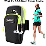 """Keynice(TM) Sports Armband, Multifunctional Pockets Workout Running ArmBag for iphone 7,7 plus, 6, 6plus, 5, 5s, 5c,Galaxy S5,S4,S3,Note 2 3 4 and all 3.5~5.8"""" smartphone"""