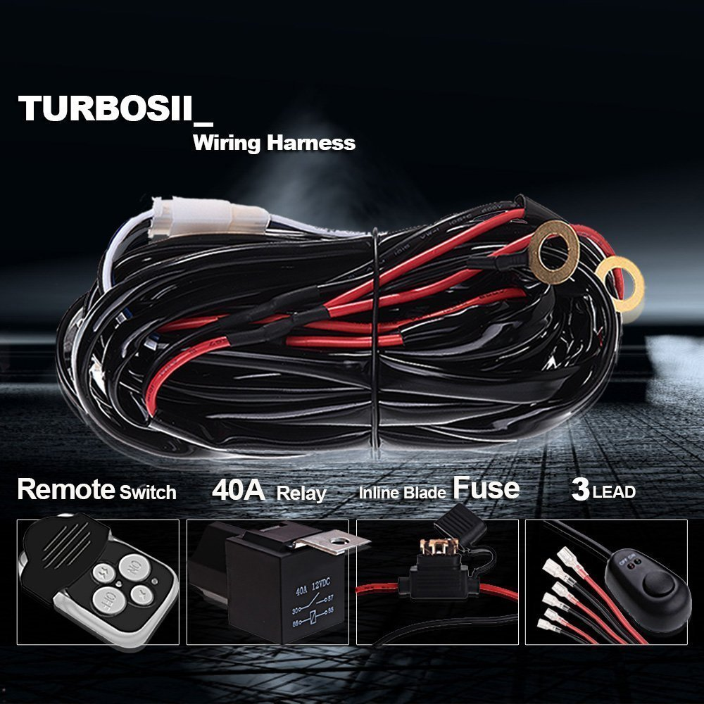 3 Lead 300w Led Light Bar Wiring Harness Kit Fuse Relay Remote Control Switch