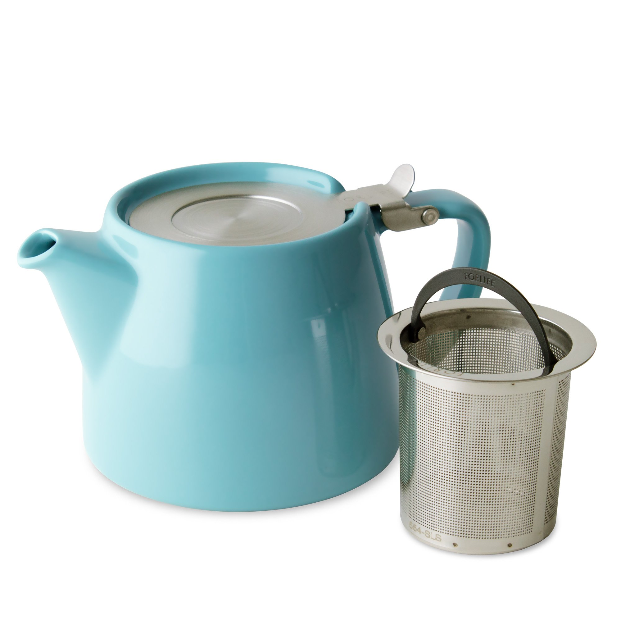 FORLIFE Stump Teapot with SLS Lid and Infuser, 18-Ounce, Turquoise by FORLIFE (Image #2)