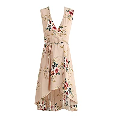 LadyCaca Fashion v floral print dress irregular sem mangas summer beach dress causal do vintage arco