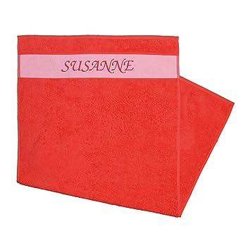 Amazonde Handtuch Bedruckt Mit Vornamen Susanne Rot