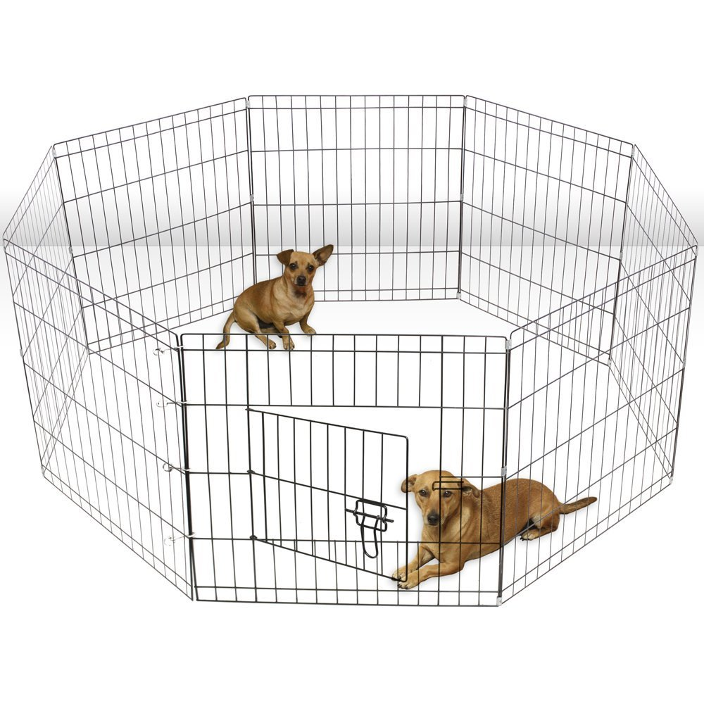 ALEKO SDK-30B Heavy Duty Pet Playpen Dog Kennel Pen Exercise Cage Fence 8 Panel 30 x 24 Inches Black