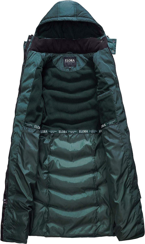 ELORA Womens Warm Winter Heavyweight Quilted 40 inch Long Fleece Trim Puffer Coat Parka Removal Hood
