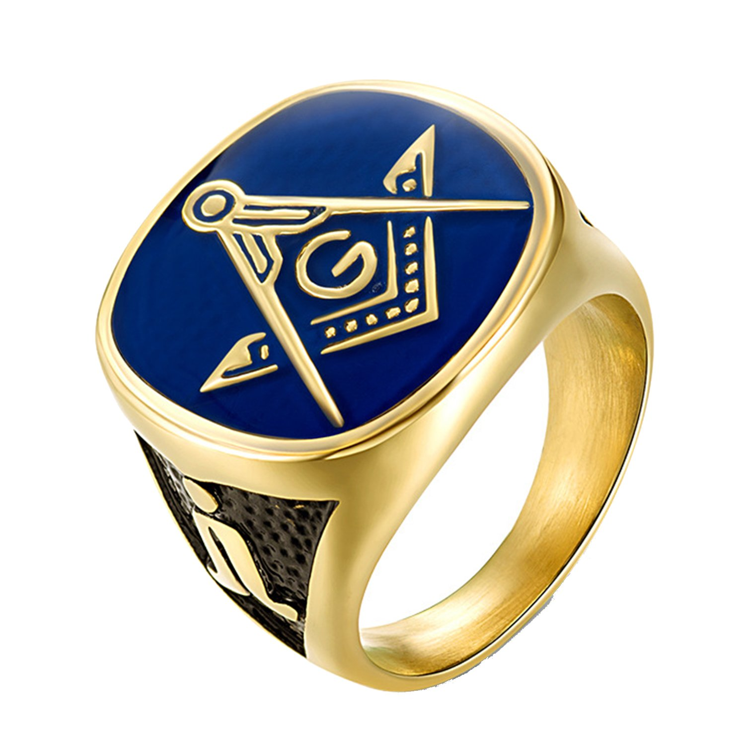 LILILEO Jewelry Titanium Steel Masonic Golden Drops Brothers Club American AG Ring For Unisex Rings