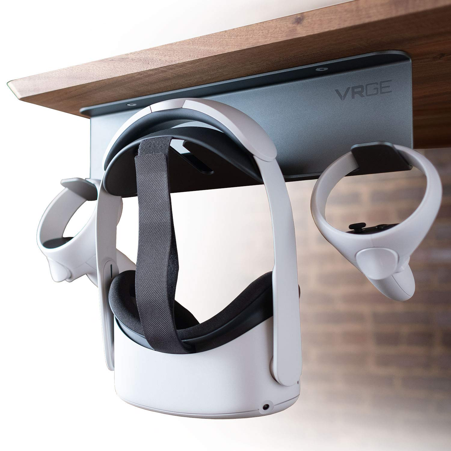 VRGE VR Stand Under Desk Storage Display Hook Organizer - Premium Metal - For Oculus Rift Oculus Rift S Quest 2, HTC Vive, Vive Pro, Playstation VR, Valve Index, Vive Cosmos and Mixed Reality Headsets