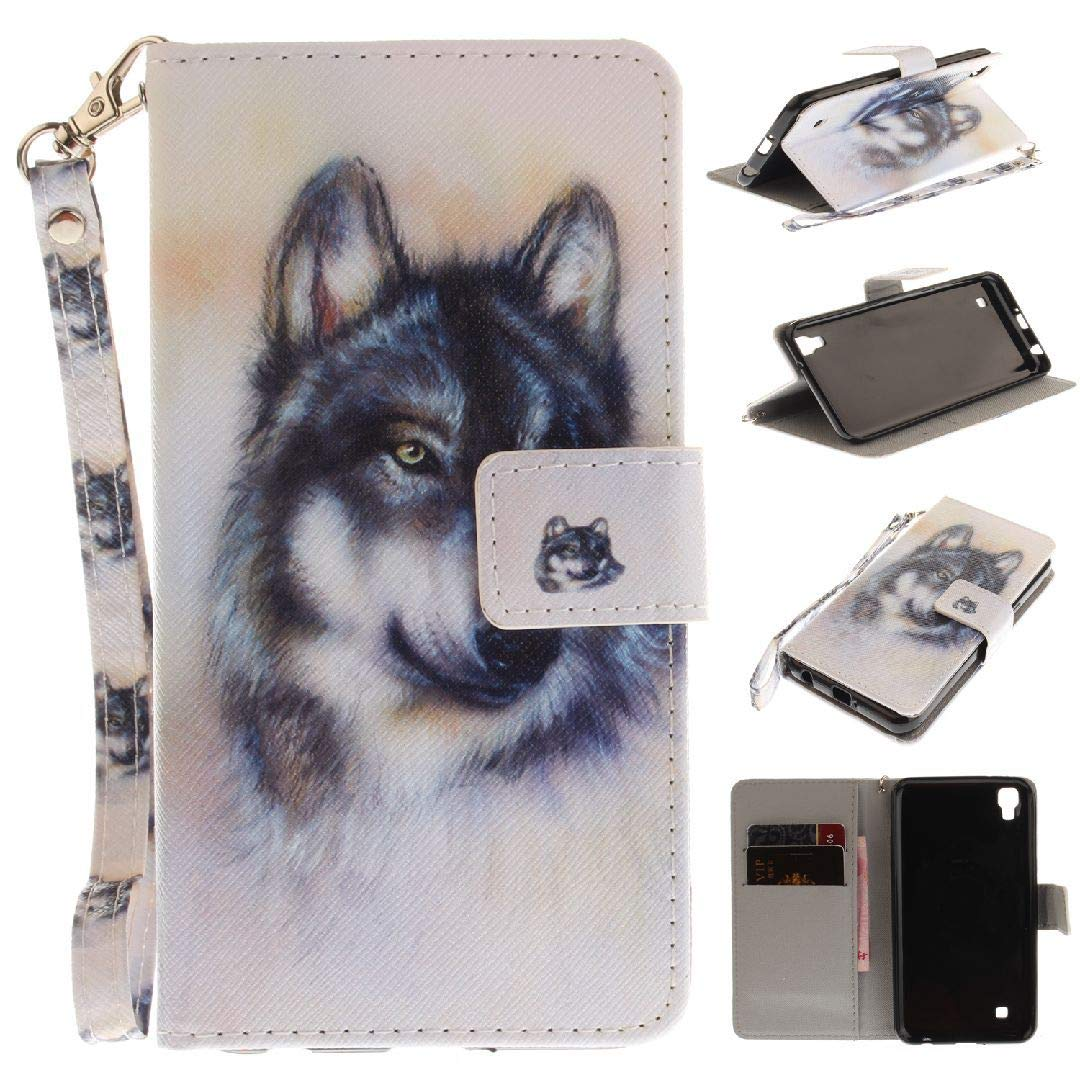 LG X Power K220 LS755 US610 K450 Wallet Movie Stand Case, Awesome Art Paint Hand Strap Cover[Money Credit Card ID Slots] TAITOU New Soft PU Leather Light Case For LG Xpower Snow Wolf