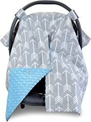 2 in 1 Carseat Canopy and Nursing Cover Up with Peekaboo Opening   Large Infant Car Seat Canopy for Boy or Girl   Best Baby Shower Gift for Breastfeeding Moms   Arrow Pattern with Blue Minky