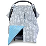 2 in 1 Carseat Canopy and Nursing Cover Up with Peekaboo Opening | Large Infant Car Seat Canopy for Boy or Girl | Best Baby Shower Gift for Breastfeeding Moms | Arrow Pattern with Blue Minky