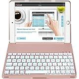 iPad 6 Keyboard Case, iPad 5 Keyboard Case [ (2018/2017) iPad 9.7 Backlight 7 Colors Keyboard ] iPad Air 1 Keyboard Case, Back Hard Folio Case Auto Sleep/Wake (Rose Goid)