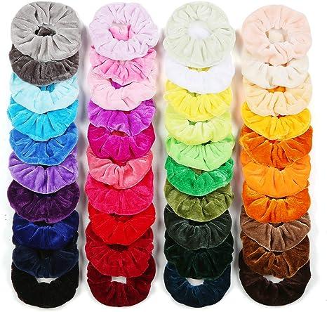 40 Colores Coleteros Terciopelo, Velvet Elástico Hair Scrunchies ...