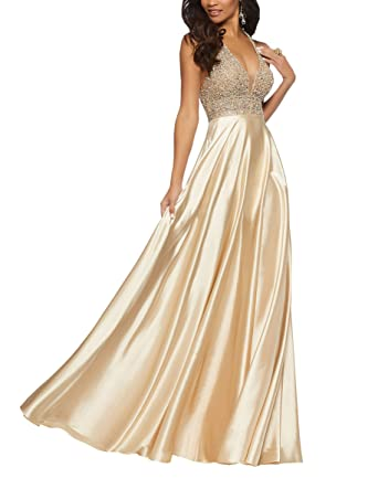 Gold Beaded Crystal Prom Gowns Formal Dresses with Pockets Halter V-Neck A-line