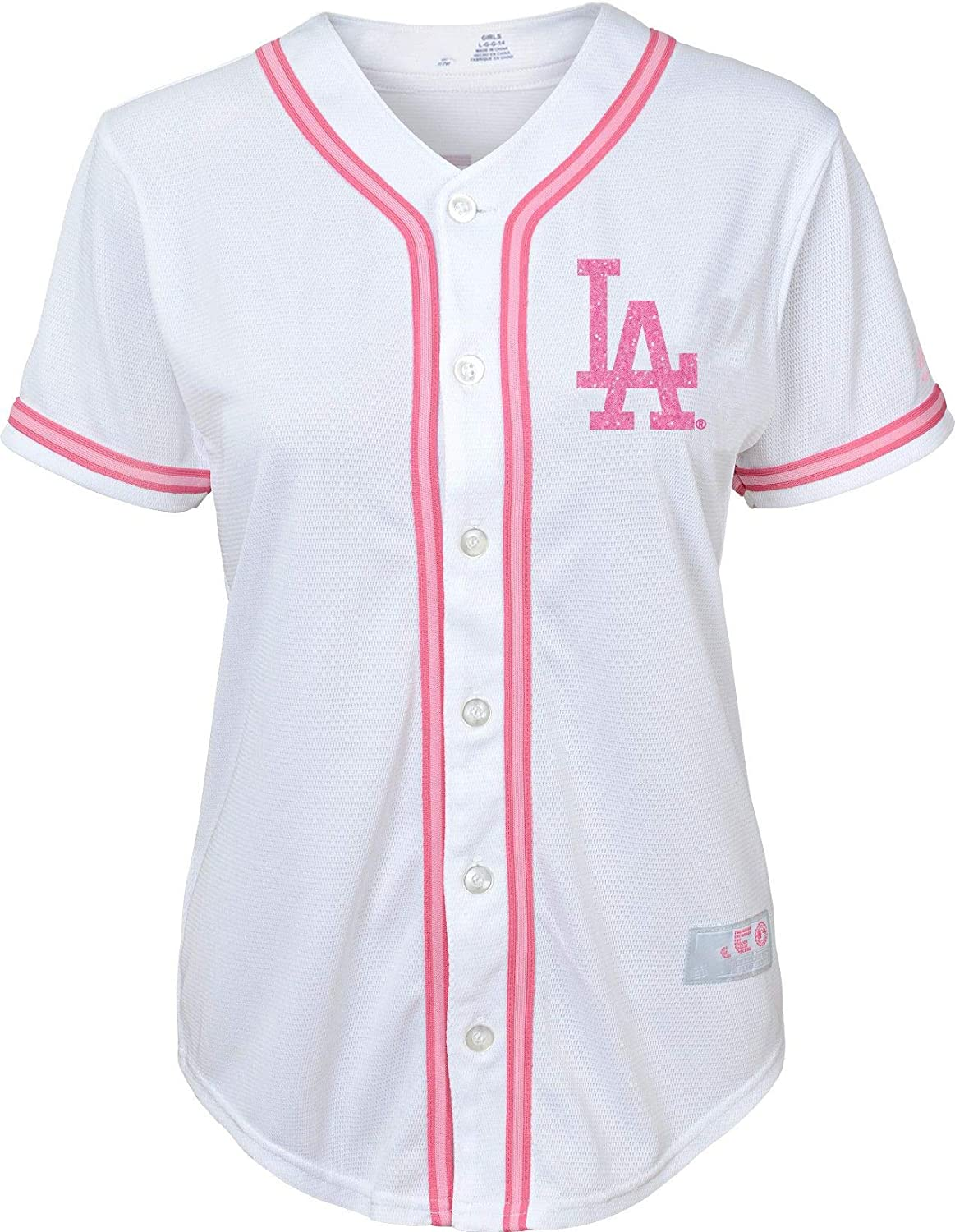d869792c1135 Amazon.com  Outerstuff Los Angeles Dodgers Blank Girls Kids White Pink Cool  Base Jersey (4)  Clothing