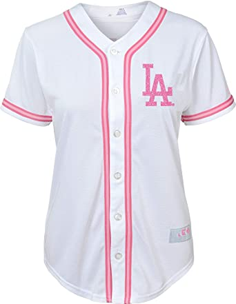 Outerstuff Los Angeles Dodgers Blank Girls Kids White Pink Cool Base Jersey  (4) 978553398bb