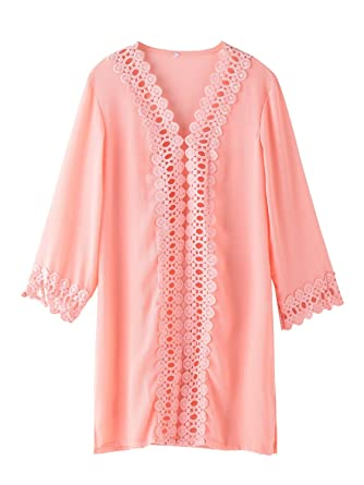 b93e2aa9363df zeraca Women's Swimsuit Cover-Up Beach Cover Up Dress (M10, Salmon Rose)