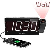 Mesqool AM/FM Digital Dimmable Projection Alarm Clock Radio