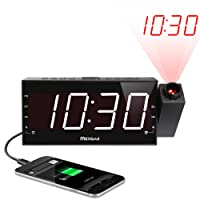 "(Upgraded Version) Mesqool 7"" Projection Alarm Clock for Travel, Bedrooms, Ceiling, Kitchen, Desk, Shelf, Wall - AM FM Radio,3 Dimmer, Dual Alarm, USB Charging Port, AC Powered & Battery Backup"