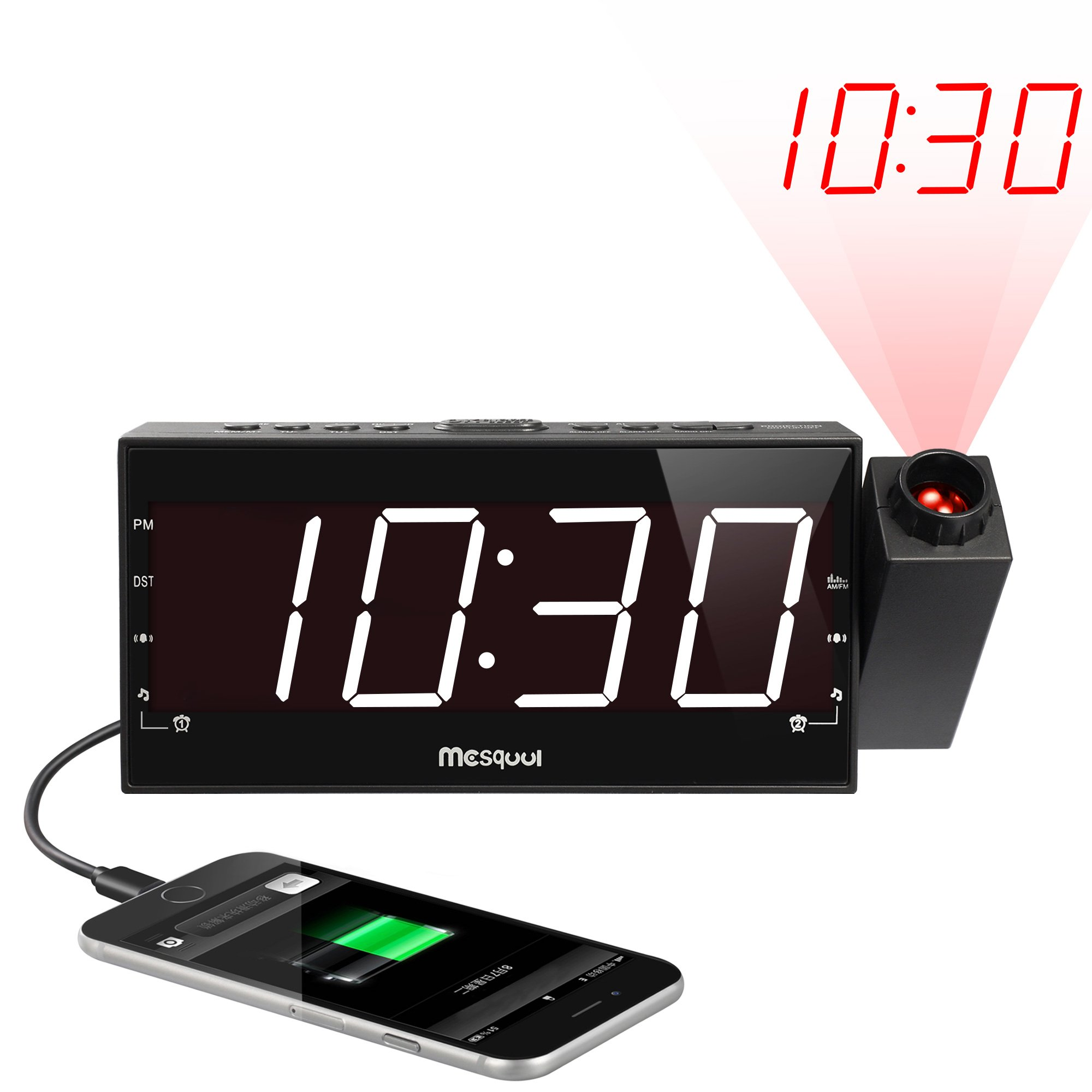 (Upgraded Version) Mesqool 7'' Projection Alarm Clock for Travel, Bedrooms, Ceiling, Kitchen, Desk, Shelf, Wall - AM FM Radio,3 Dimmer, Dual Alarm, USB Charging Port, AC Powered & Battery Backup