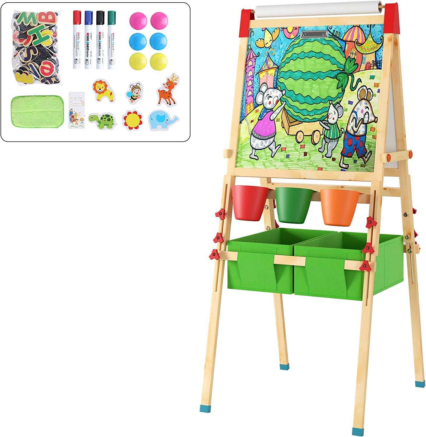 Homfa Wooden Kids Easel with Paper Roll Double Side Multiple-use Magnetic Whiteboard/Chalkboard Art Standing with Rich Accessories for Toddlers Children Painting and Drawing, Height Adjustable