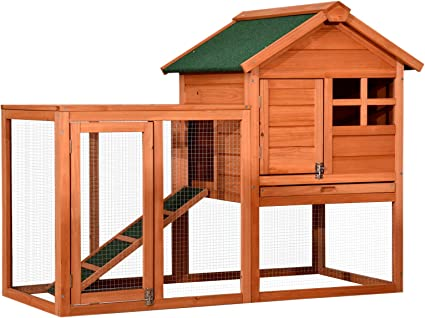 Wooden Bunny House with Ventilation Door 62 Large Rabbit Hutch Yellow Chicken Coop Bunny Cage Hutch Bunny Pet House for Small Animals Indoor Outdoor Rabbit Cage