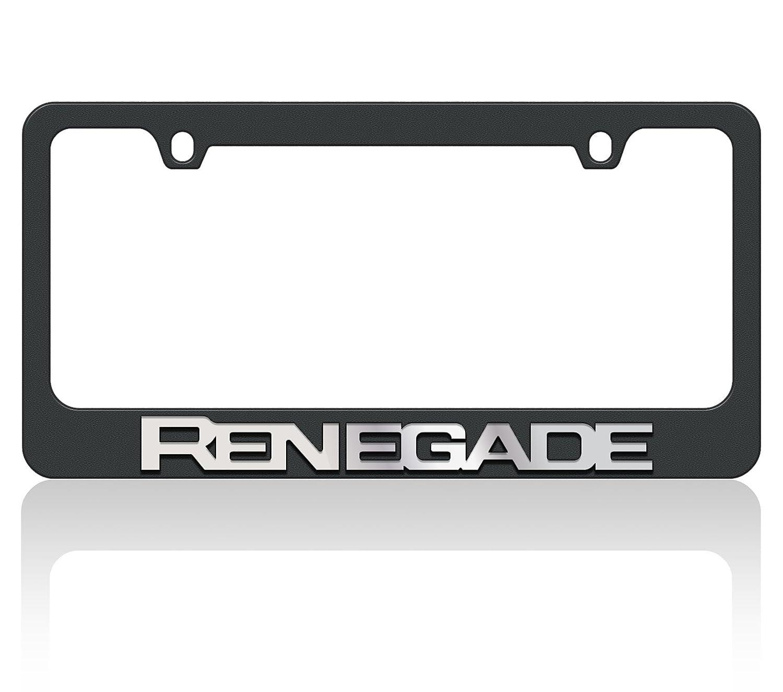 2018 Jeep Renegade W//O Mirror Word Eurosport Daytona Black License Plate Frame