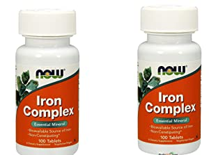 2 Bottles of NOW Foods IRON COMPLEX 100 Tabs