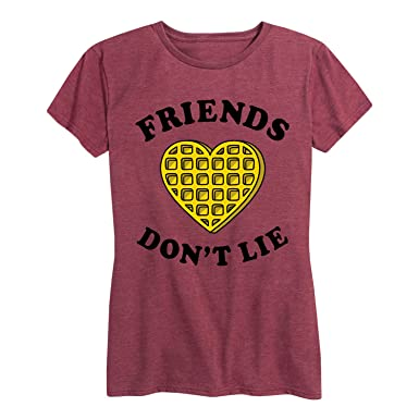 acacb8cfd Instant Message Friends Dont Lie Waffle - Ladies Short Sleeve Classic Fit Tee  Shirt,Heather