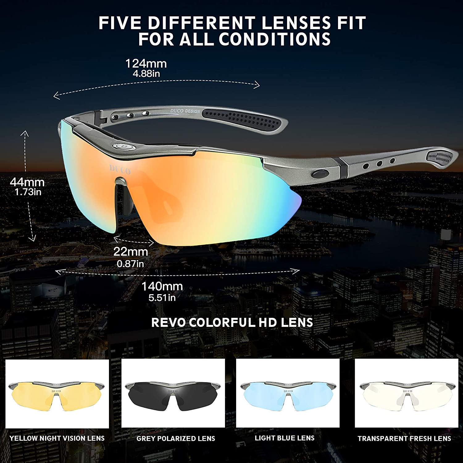 Polarized Sports Sunglasses Cycling Glasses with 5 Interchangeable Lenses