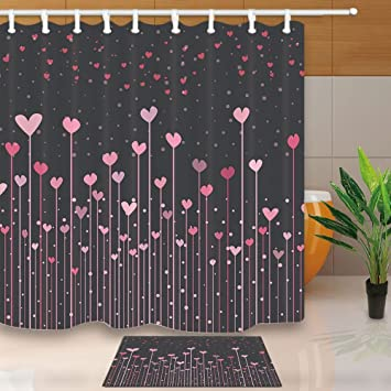 Valentines Day Shower Curtain Creativity Heart Shaped Flower And Star In Night 708X708in