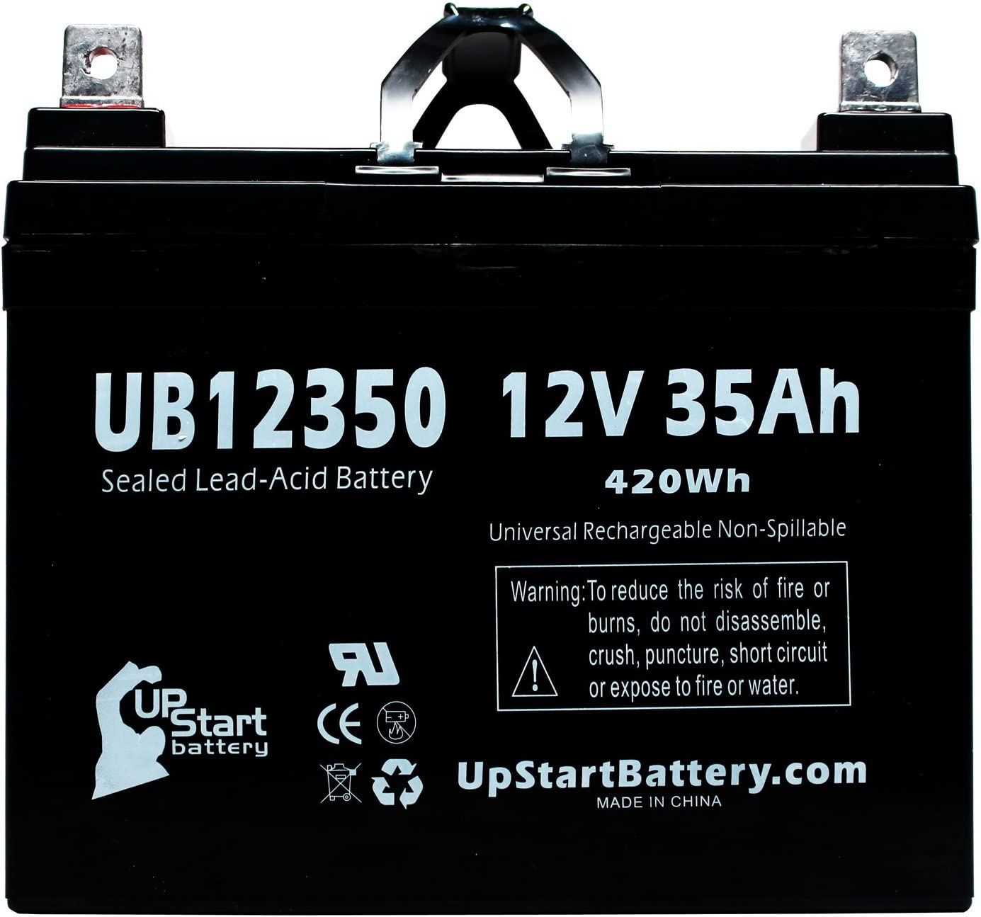Replacement for NAPA 8228 Battery - Replacement UB12350 Universal Sealed Lead Acid Battery (12V, 35Ah, 35000mAh, L1 Terminal, AGM, SLA)