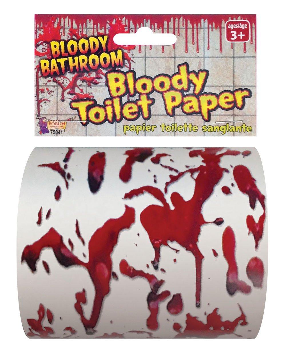 Forum Novelties Bloody Bathroom Toilet Paper, Red/White