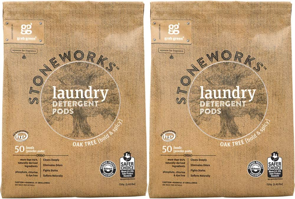 Grab Green Stoneworks Laundry Detergent Pods, Powered by Naturally-Derived Plant & Mineral-Based Powder Pods, Oak Tree, 50 Count (Pack of 2) Loads, EPA Safer Choice Certified