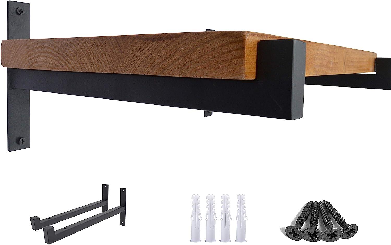 OVOV 2 Pcs Steel Heavy Duty Shelf Brackets Wall Mounted Industrial Metal Shelf Supports Matte Black 6 Inches