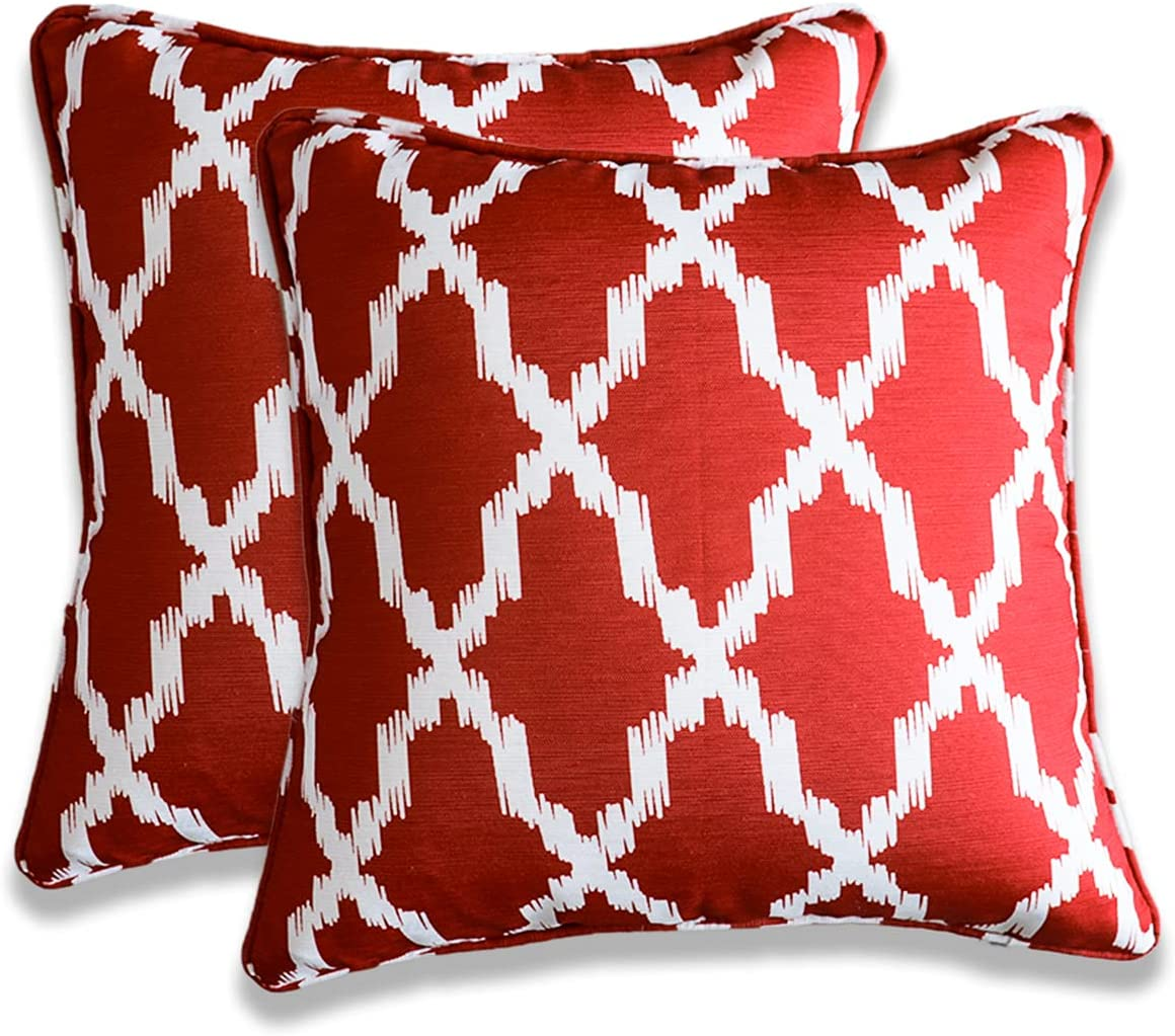 Vanteriam 2 Pack Indoor Outdoor Waterproof Throw Pillow Cover ONLY, Decorative Square Outdoor Pillow case with Piping for Patio Furniture Set, 20''x20'' MH-Y097 Indian Red