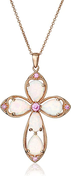 14k Rose Gold Rounded Small Cross Pendant Necklace /& Matching Earrings Set