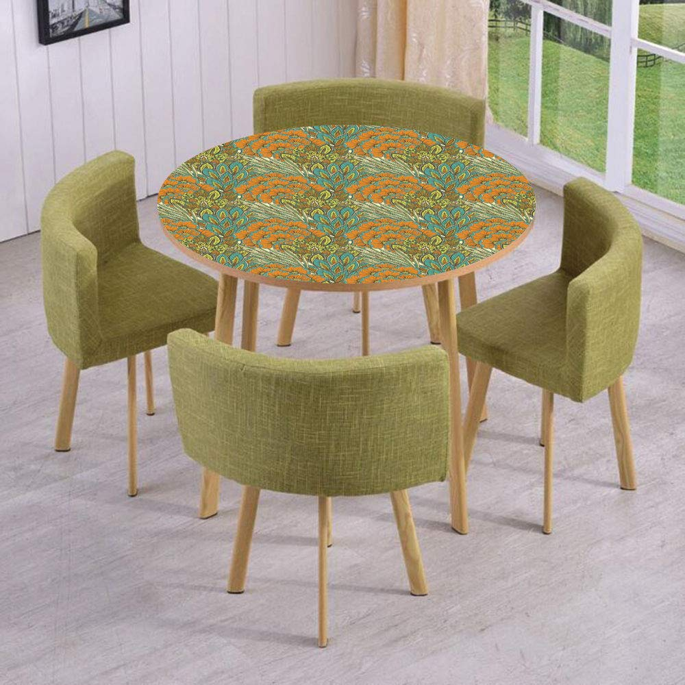 iPrint Round Table/Wall/Floor Decal Strikers/Removable/Harvest Season Meadow Rural Wheat Peacock Leaves Foliage Illustration/for Living Room/Kitchens/Office Decoration