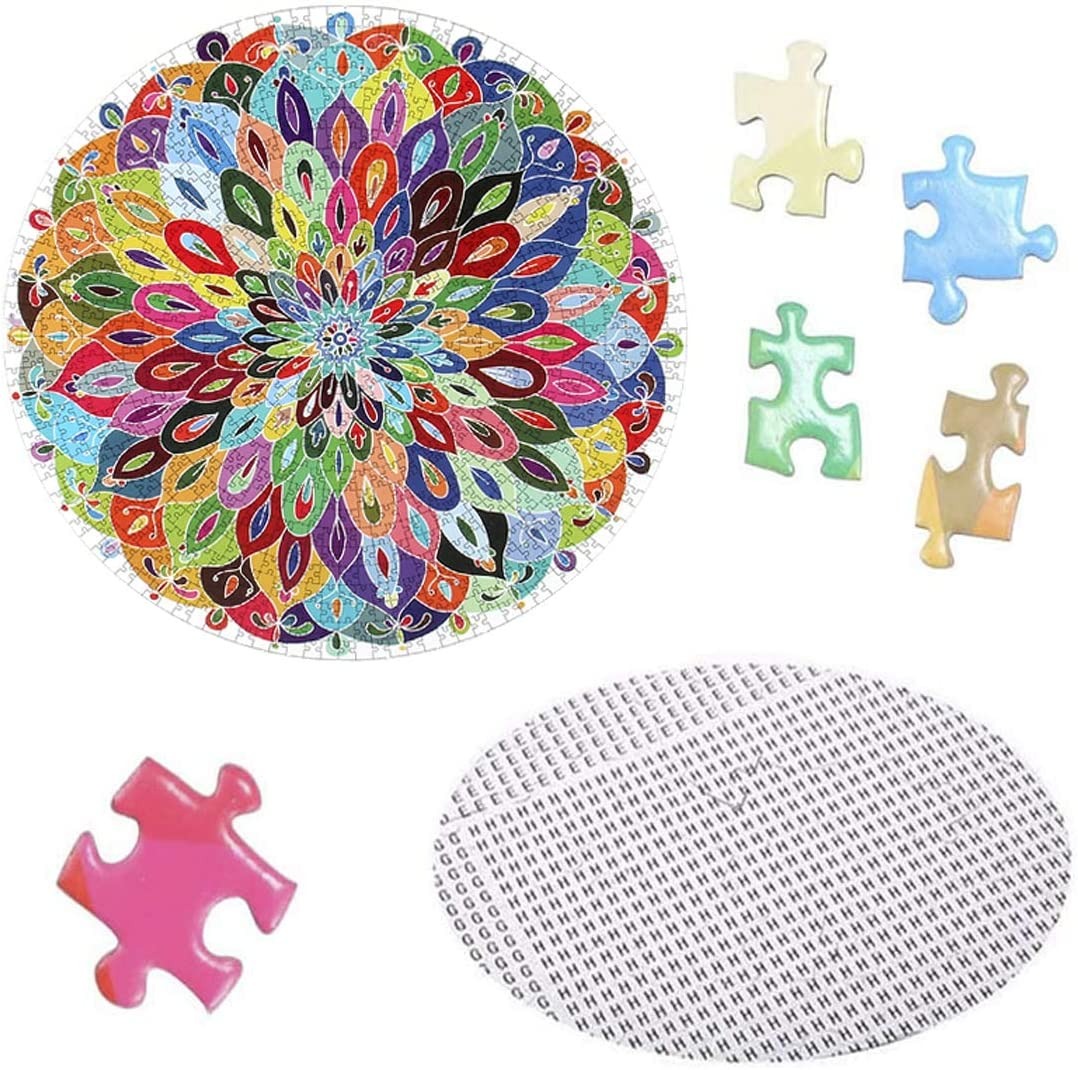 Challenge Round Jigsaw Puzzles Toys Birthday for Boys Girls Teen Large Blooming Color Round Puzzles Game Toys for Kids 1000 Piece Jigsaw Puzzles for Adults