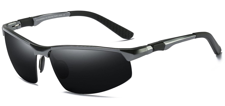 WHCREAT Gafas De Sol Polarizadas De Conducción Para Hombres Gafas De Deporte Al Aire Libre Marco Irrompible AL-MG - Pistola Marco Negra Lente 03