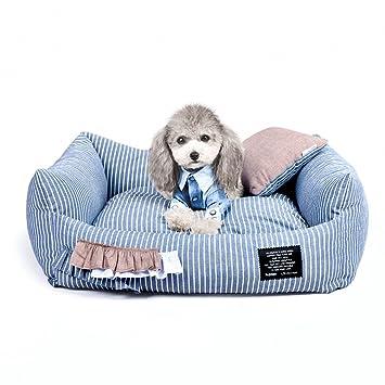 Pequeño árbol Cómoda Cama Perrera, Interior Lavable Almohada del sofá Perrera Raya, Mascotas Camas para Perros y Gatos (Size : S): Amazon.es: Hogar