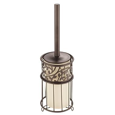 mDesign Compact Freestanding Plastic Toilet Bowl Brush Holder Bathroom Storage, Decorative Organic Design, Deep Cleaning, Covered Brush - Bronze, Vanilla/Cream Plastic Insert