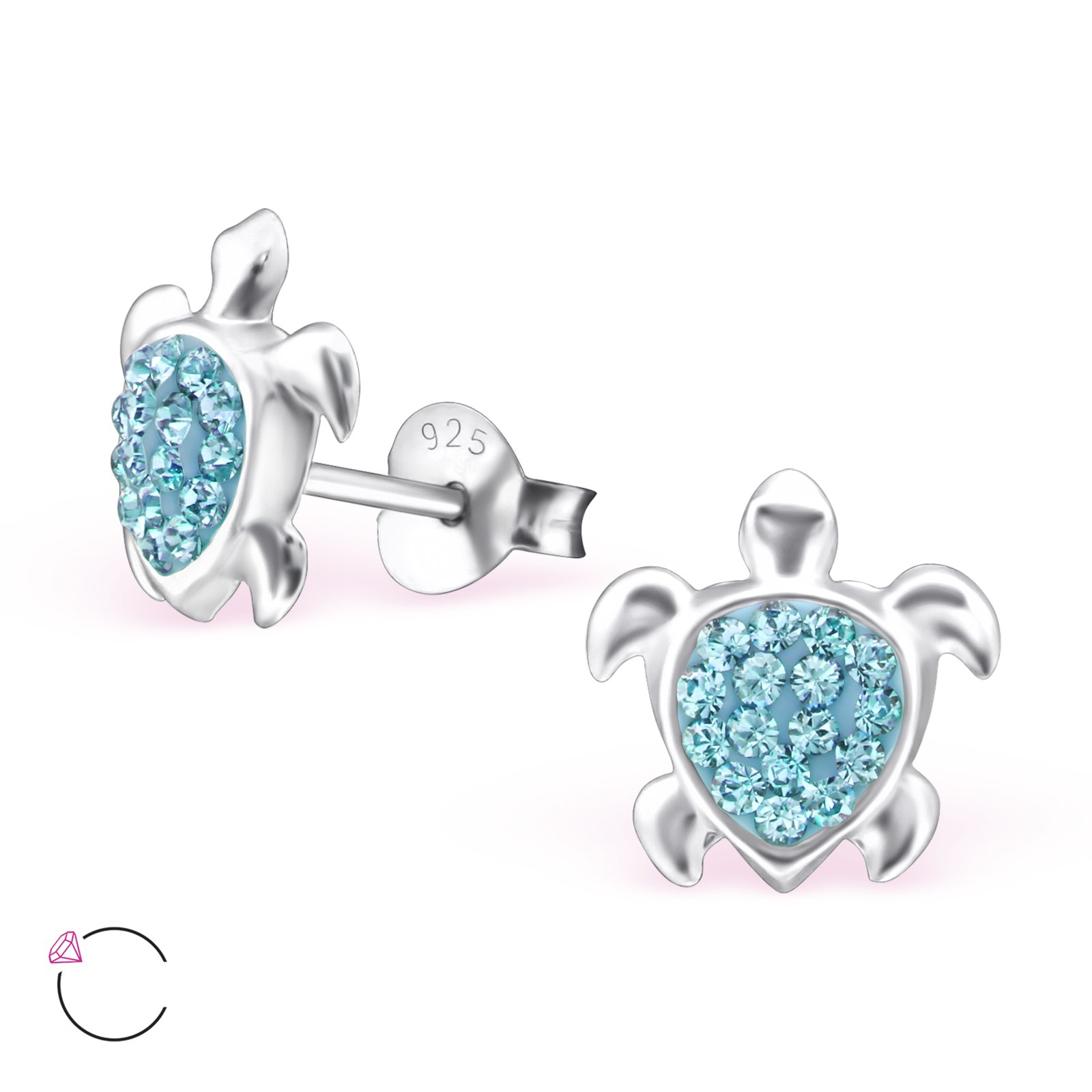 Hypoallergenic Turtle Stud Earrings With Swarovski Crystals for Girls (Nickel Free and Safe for Sensitive Ears) - Aquamarine