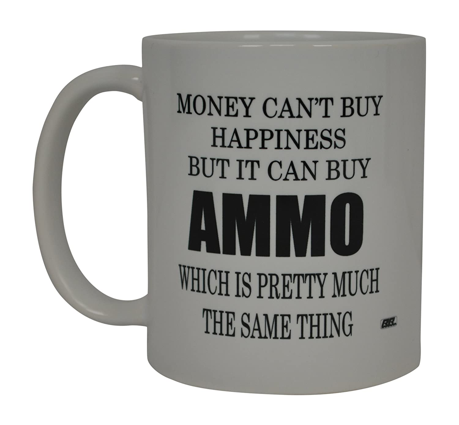 Best面白いコーヒーマグMoney Can Buy HappinessませんがIt Can Buy弾薬ノベルティCup Great Gift forメンズHunter Hunting Guns B078TS9J43