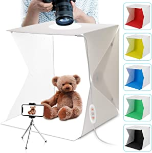 BELONGME Light Box, 15.7inch Portable Light Box Photography, Folding 5500K CRI95 Dual Light Strips Photo Studio Light Box with 6 Color Backdrops for Product Food Photography - White
