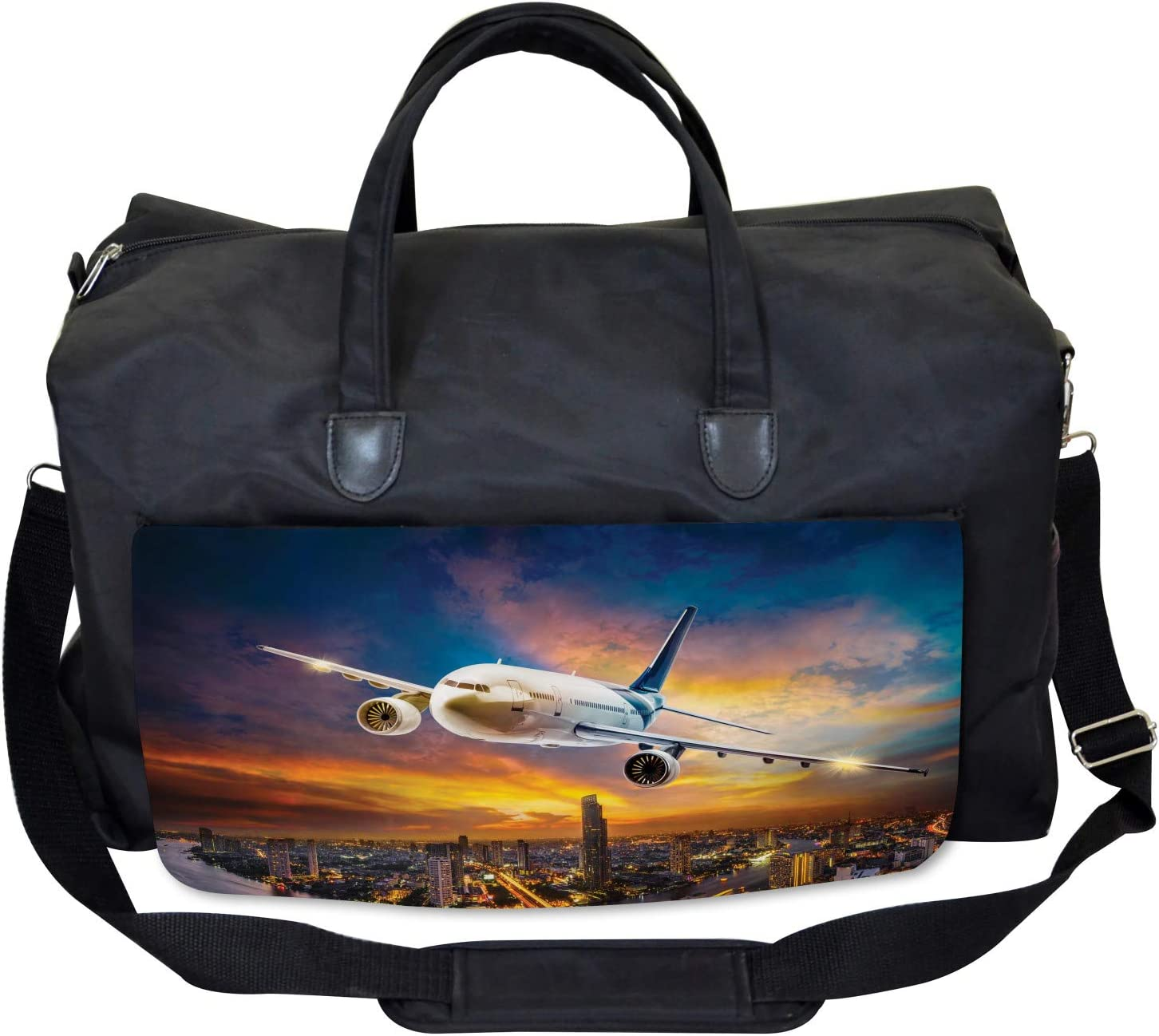 Ambesonne Travel Gym Bag Night Scene with Plane Large Weekender Carry-on