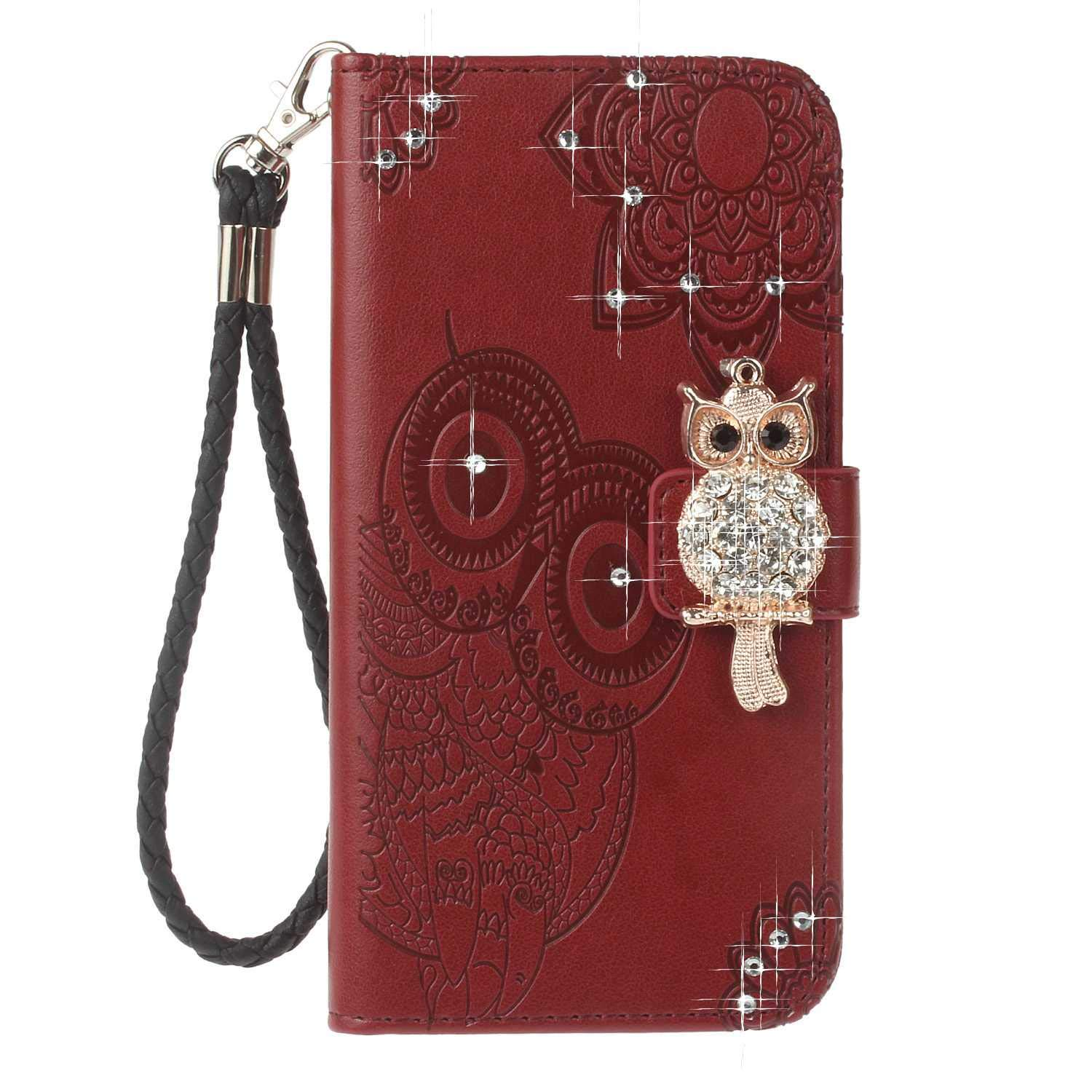 Bear Village LG G7 Case, Leather Case with Wrist Strap and Credit Card Slot, Owl Magnetic Closure Shockproof Cover for LG G7, Red Brown by Bear Village