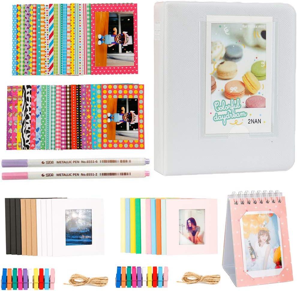 Alohallo Photo Album Accessories Bundles Set for Fujifilm Instax Mini 7s 8 8+ 9 25 50s 70 90, Polaroid Snap PIC-300, HP Sprocket, Kodak Mini 3-Inch Film - Smokey White