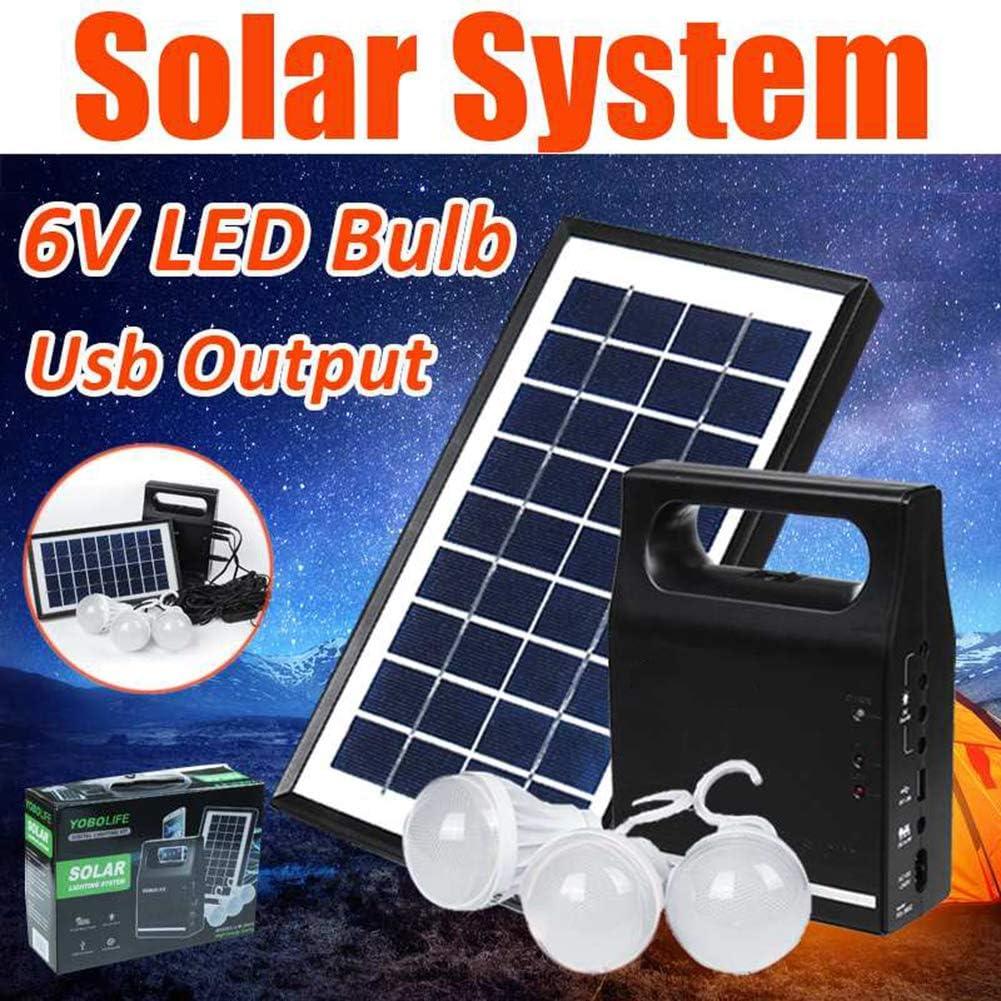 LAMP-XUE Sistema de Iluminación Inicio Cargador del Panel Solar de la energía Solar Generador Kit de 6V USB + 3 Bombillas LED para la iluminación al Aire Libre de Carga de teléfono