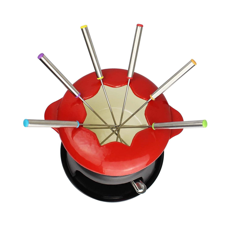 Todeco Materiale: Smalto di Porcellana Elettrodomestico per Fonduta Rosso Dimensione: 27,5 x 21 x 21 cm Set Fonduta in Ghisa