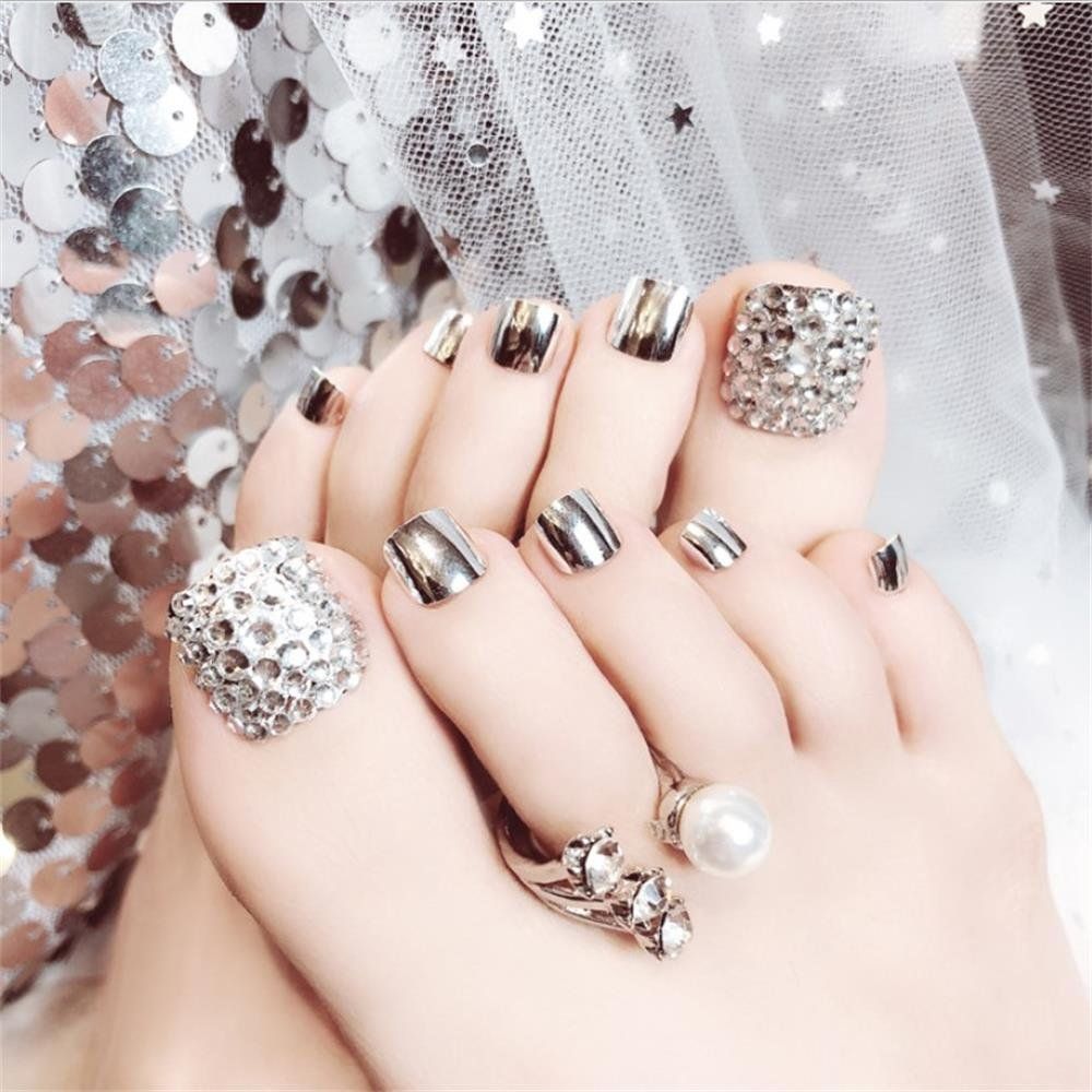 24Pcs Glitter Rhinestone False Toe Nail Stickersfull Coverage Toe Nails Summer Silver Glitter Solid Silver Short Toe Nails by T-minimalist