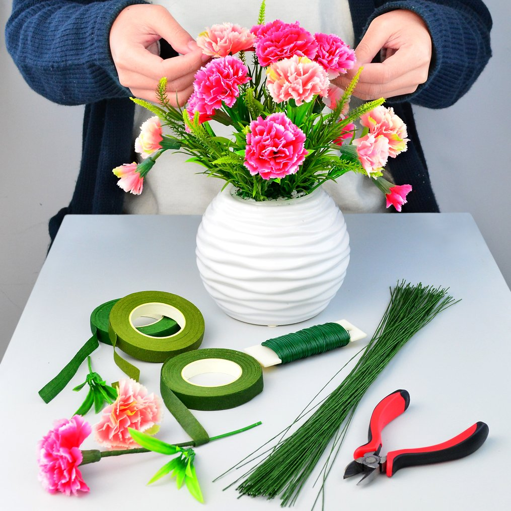 3 Rolls Floriculture Paper Tapes 26 Gauge Floral Wire /& 16 Inch Floral Stem Wire for Bouquet Stem Wrap Florist 4.7 Wire Cutter Bantoye 6 Pcs Floral Arrangement Tool Kit