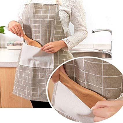 GETKO WITH DEVICE Linen Cotton Apron Home Kitchen Cooking Waterproof Fashionable Housework Brief Clothes with Front Pocket for Men & Women
